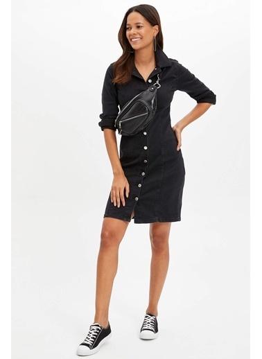 DeFacto Fashion Fit Uzun Kollu Cepli Elbise Renkli